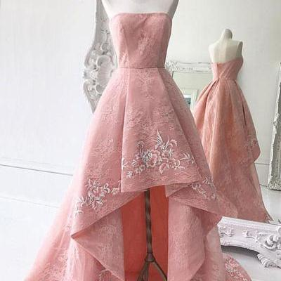Pink lace prom dresses,high low hom..