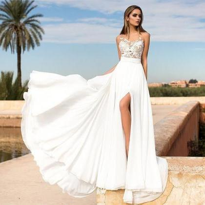Summer Beach Wedding Dress with Sli..