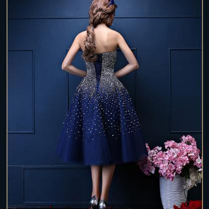 Custom Made Navy Blue Prom Dress,Te..