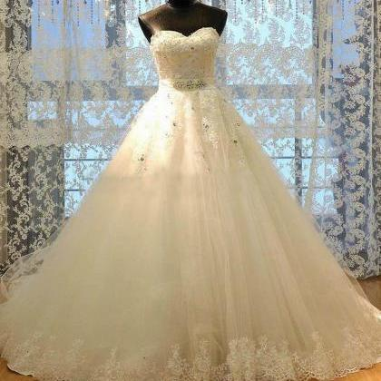 Luxury WhiteIvory A-Line Wedding D..