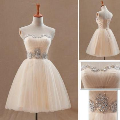 Lovely Champagne Ball Gown Mini Tul..
