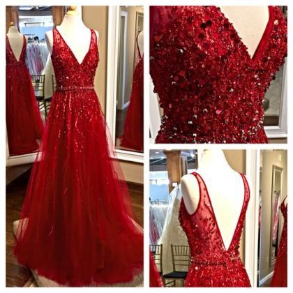 2017 Custom Made Charming Red Prom ..
