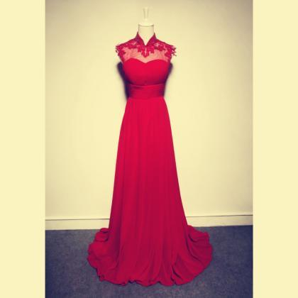 2017 Custom Made High Neck Red prom..
