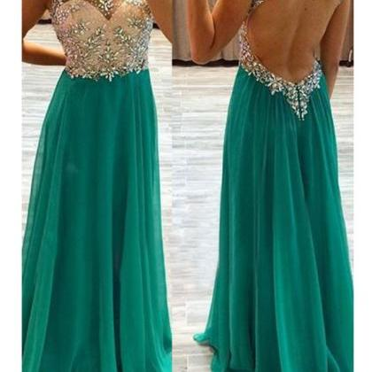 Custom Charming Green Chiffon Prom ..