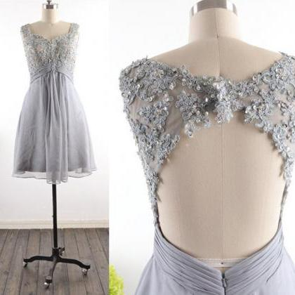 Sexy Grey Chiffon Homecoming Dress,..