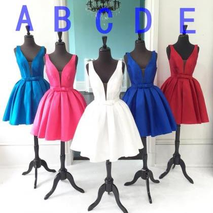 V-neck Homecoming Dress,Colorful H..