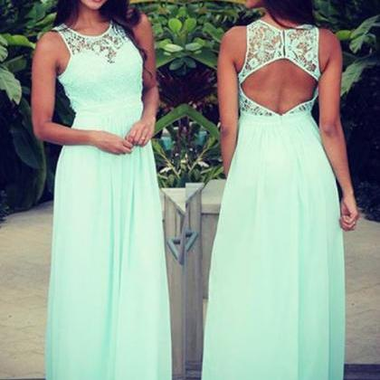 Sleeveless Mint Prom Dress,Lace Chi..