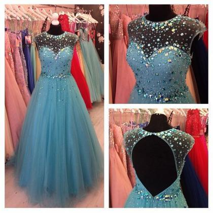 Beading Blue tulle Prom Dress, A-Li..