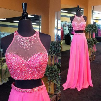 Two Pieces Prom Dress,Two Piece Eve..