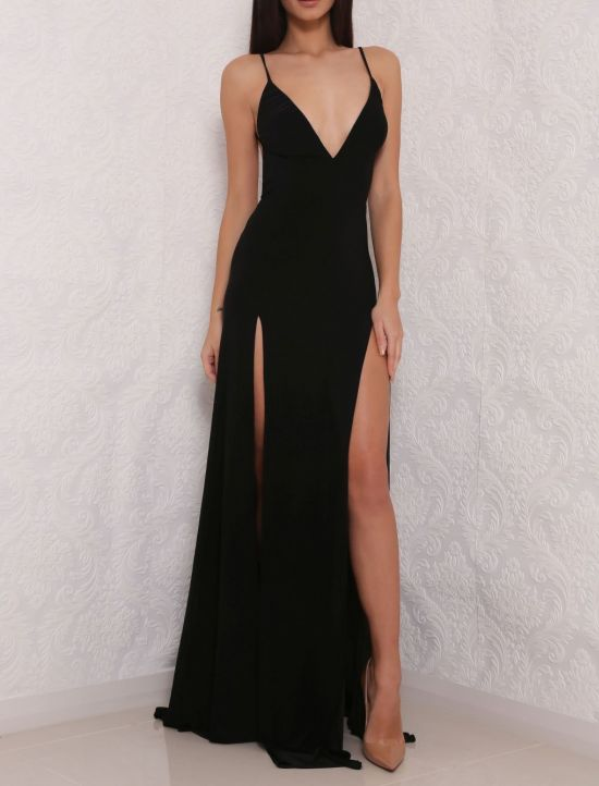Sexy High Slit Prom Dress Black Prom Dress Open Back Prom Dresses