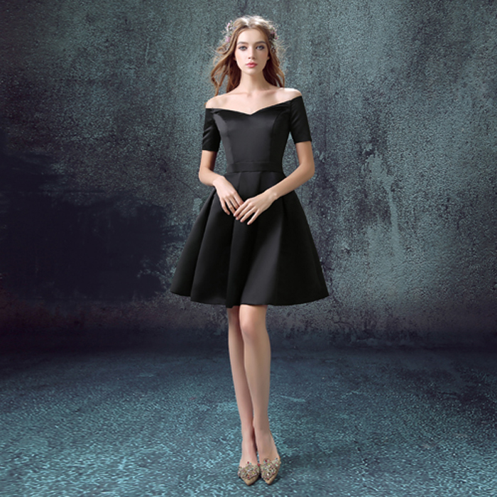 4f0fbae193 Elegant Little Black Dress Women Short Evening Dress on Luulla