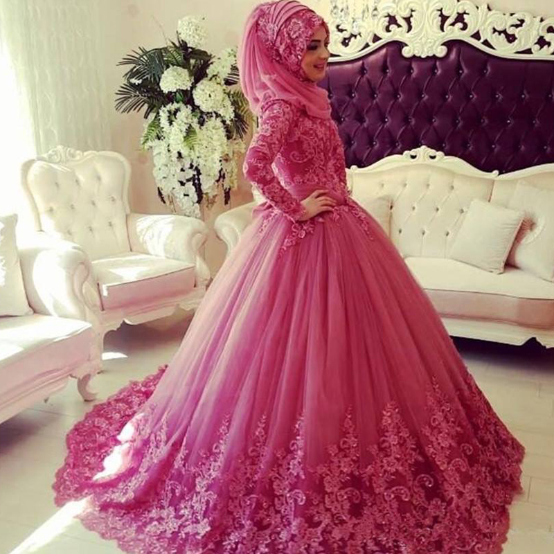 0c42c62908 Cheap Wedding Dresses,Pink Wedding Dress With Hijab, Lace Wedding Dress,  Long Sleeve Wedding Dress, Elegant Wedding Dress, Cheap Wedding Dress, ...