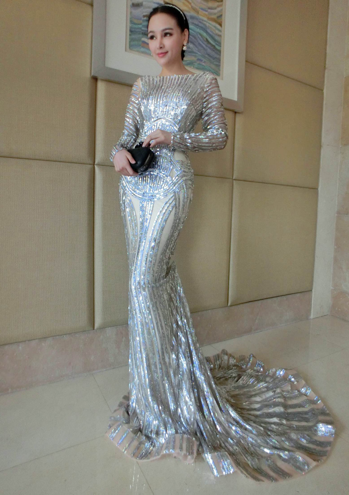 Luxury Silver Prom Dress,Mermaid Prom Dresses, Long Sleeve Sheer ...
