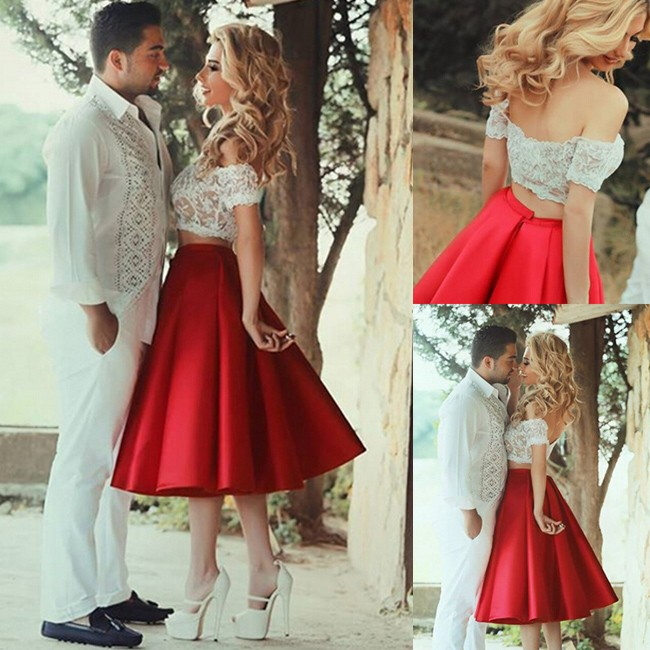 2d7cbeef88f Sexy Two Piece Prom Dress -Red A-Line Off-the-Shoulder With ...