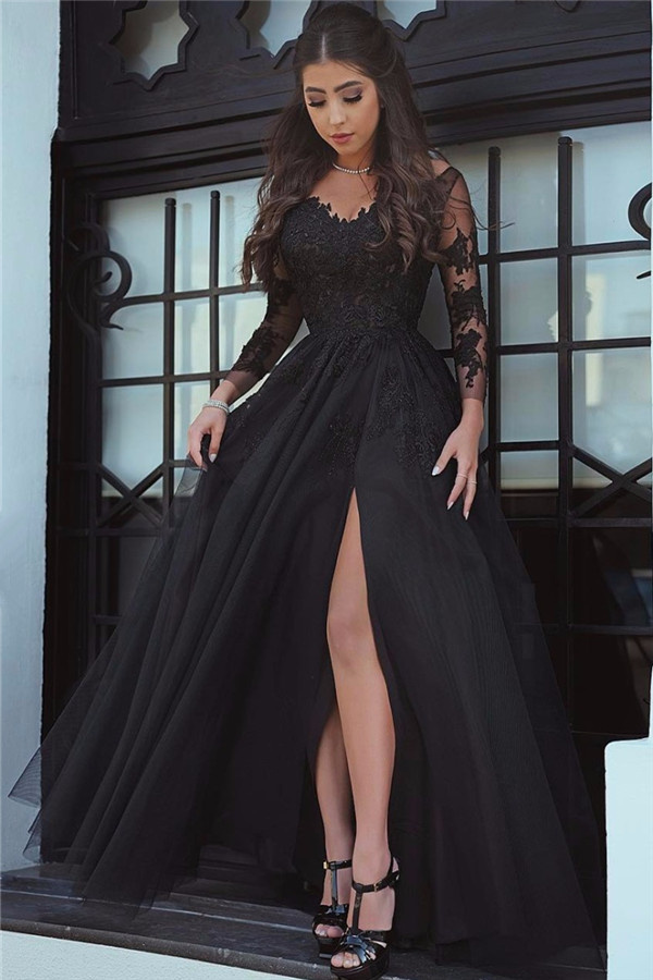 f9b46608ba7 Glamorous Long Sleeve Prom Dress