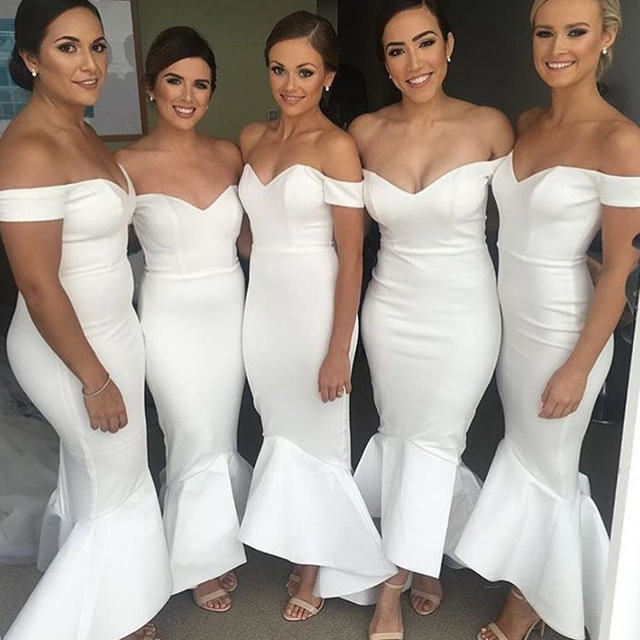 Bridesmaid Dress Mermaid Dresses Y White Wedding Party Guest Evening