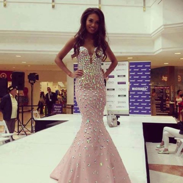 Custom Made Pink Sweetheart Neckline Mermaid Prom Dress With Crystal ...