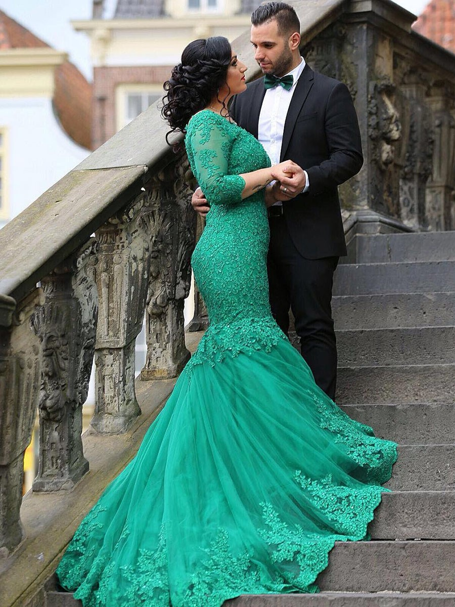 Prom Dress,Turquoise Prom Dresses, Prom Gown,Mermaid Prom Dress,Lace Prom  Dress,Prom Dress 3/4 Sleeves,Prom Dress Long Train,Prom Dress ...