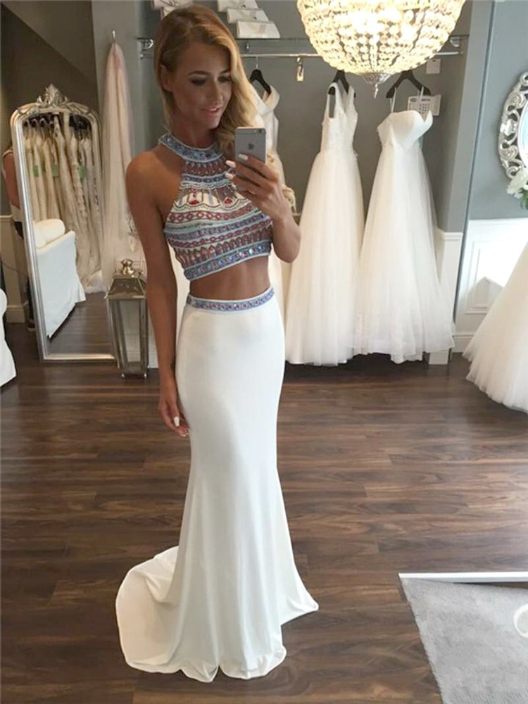 Custom Sparkle Halter Two 2 Pieces Prom Dresses, Long Prom Dress ...