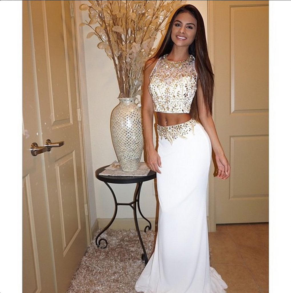 Heavy Beaded 2 Two Pieces Prom Dresses Long Elegant Ivory Mermaid