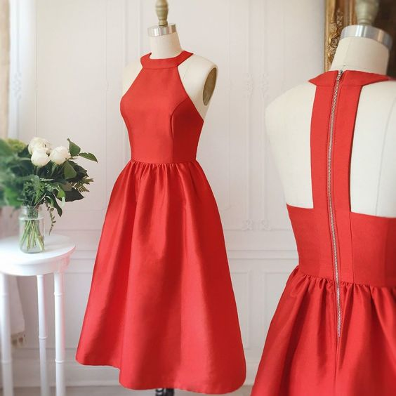 Red Satin Halter Neck Tea Length A Line Wedding Guest Dress Homecoming Dress
