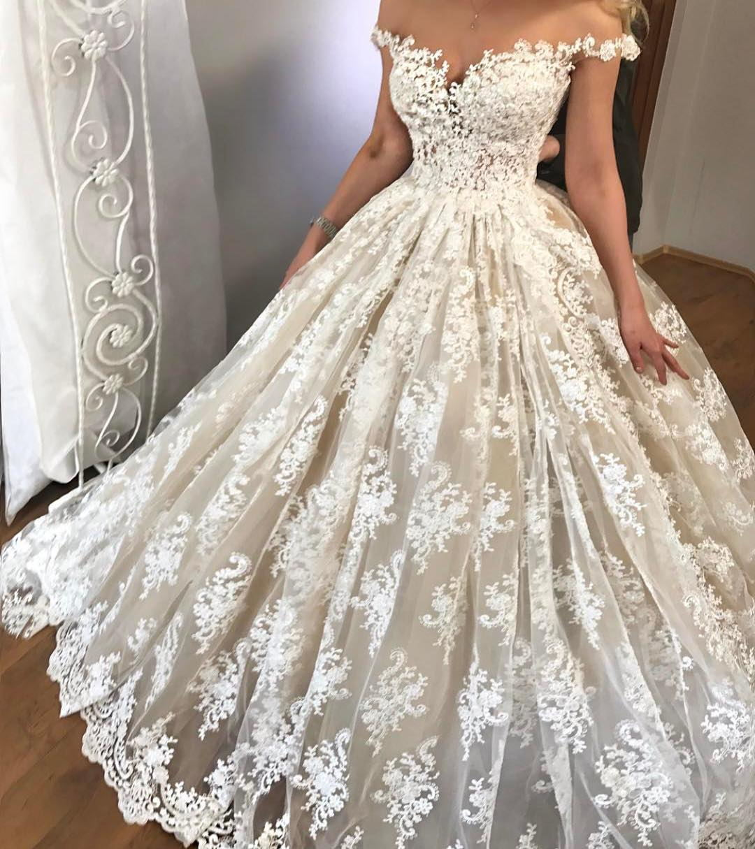 Sexy lace wedding dress off shoulder wedding dress for Off the shoulder ball gown wedding dress