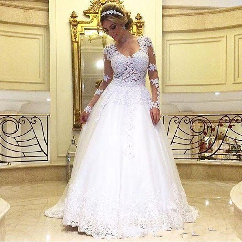 Vintage White Lace Wedding Dress With Long Sleeve A Line Bridal ...
