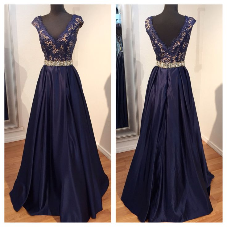 Glamorous Prom Dress,Navy Blue Prom Dresses,Lace Prom Dress,Beaded ...