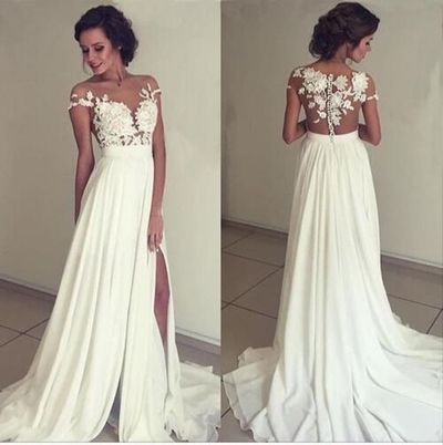 374dc91443b Floral Lace Appliques Off-The-Shoulder Floor Length Chiffon A-Line Wedding  Dress Featuring Slit and Sweep Train