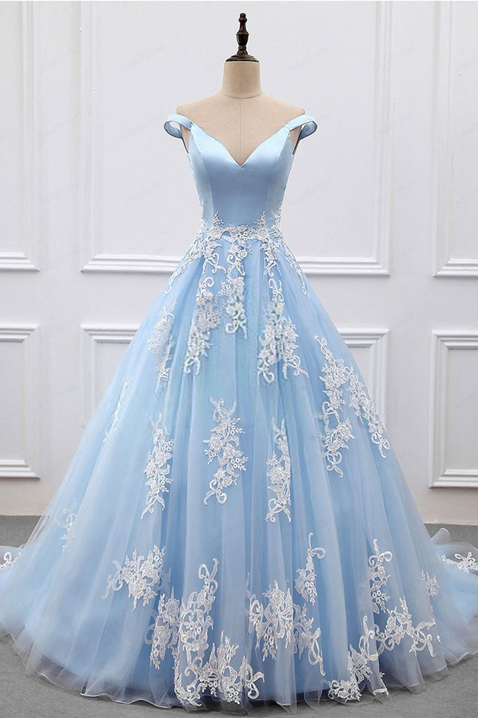 361cd8c9e3a Elegant Light Blue Ball Gown Prom Dresses