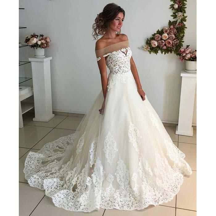 White Off The Shoulder Wedding Dress Lace Liques Dresses Ball Gown Bridal