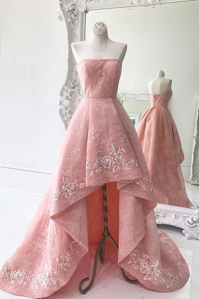 Pink lace prom dresses,high low homecoming dress, new design long prom dress