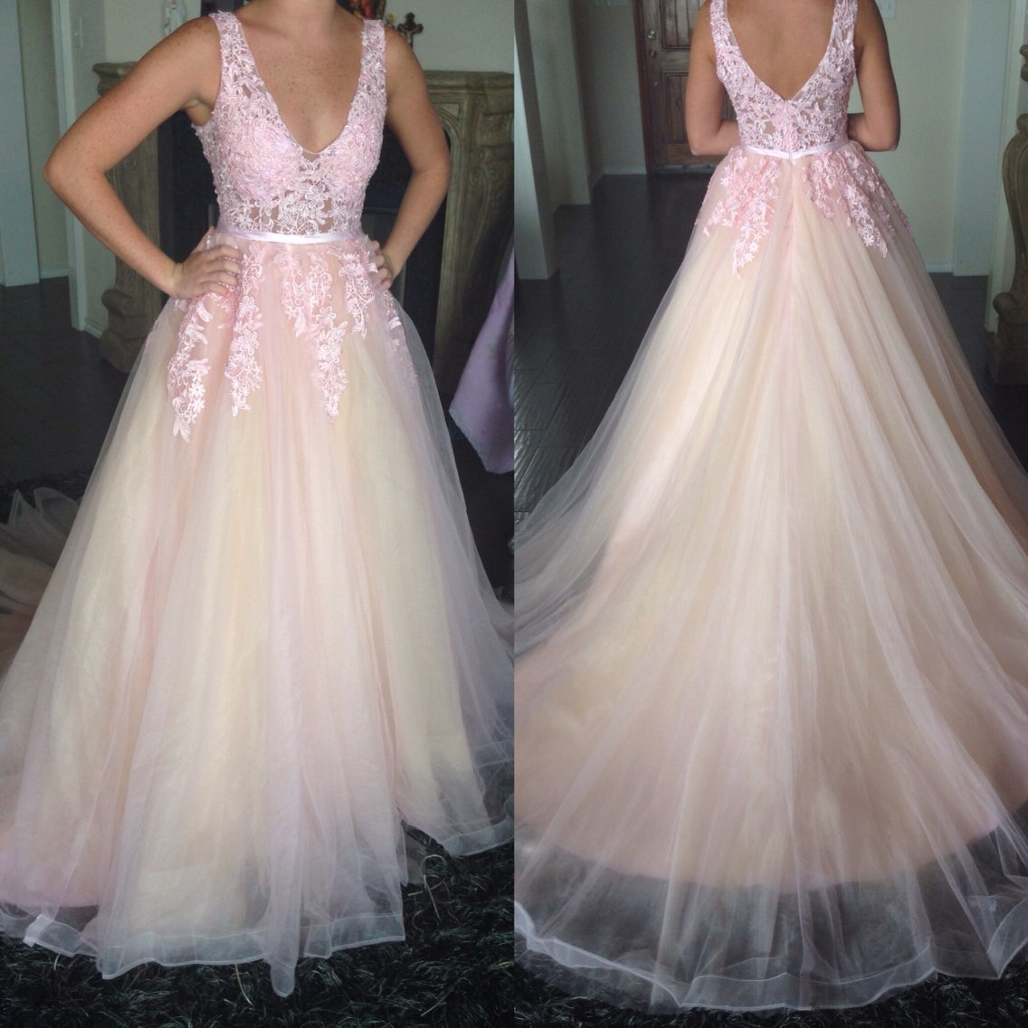 85cf87be90 Light Pink And Champagne Prom Dress
