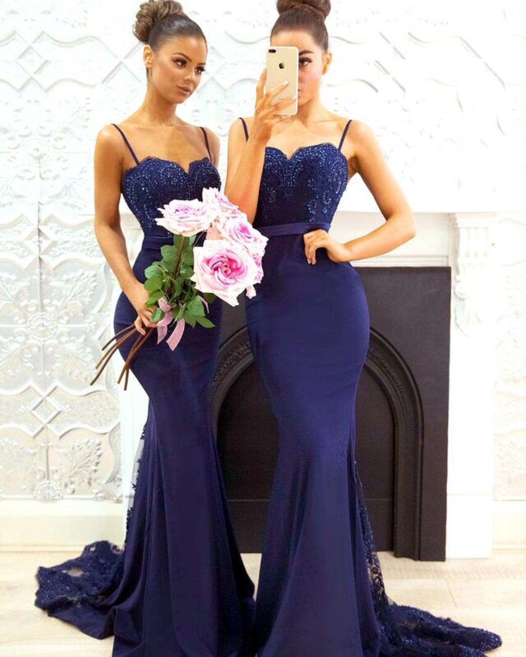 f5d305577ca Navy Blue Mermaid Bridesmaid Dress
