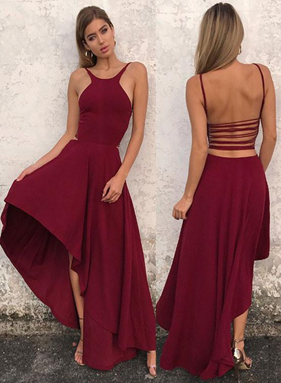 Simple A Line Halter Homecoming Dress High Low Prom Dress Evening Dresses