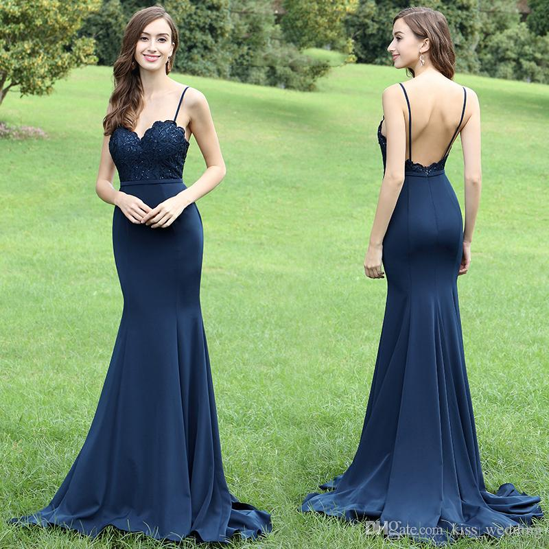 f85cf0e112 Straps Mermaid Navy Blue Long Prom Dress,Prom Dress,Sexy Elegant Prom  Dresses,
