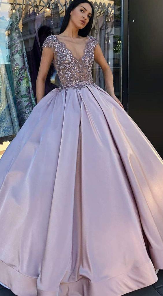 c6103f8d8d Ball Gown V-Neck Prom Dresses
