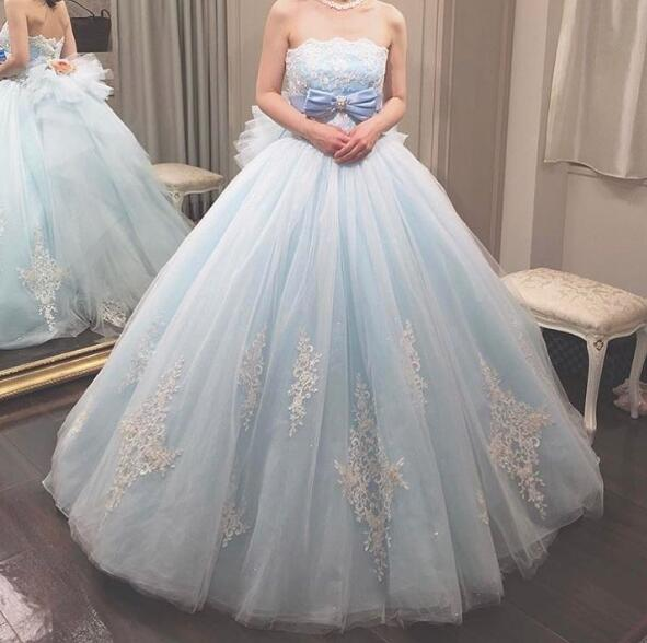 Ball Gown Tulle Wedding Dresses Strapless Bow Appliques Puffy Bridal Gowns Vestidos De Novia