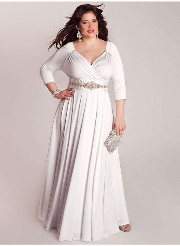 White/Ivory Three Quarter Sleeves Wedding Dress,Mother Of The Bride Dresses  For Fat Women Plus Size Formal Women Clothing