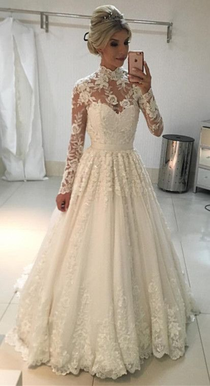 Vintage A Line High Neck Wedding Dresseslong Sleeves Lace Wedding Dress Floor Length Bridal Gowns