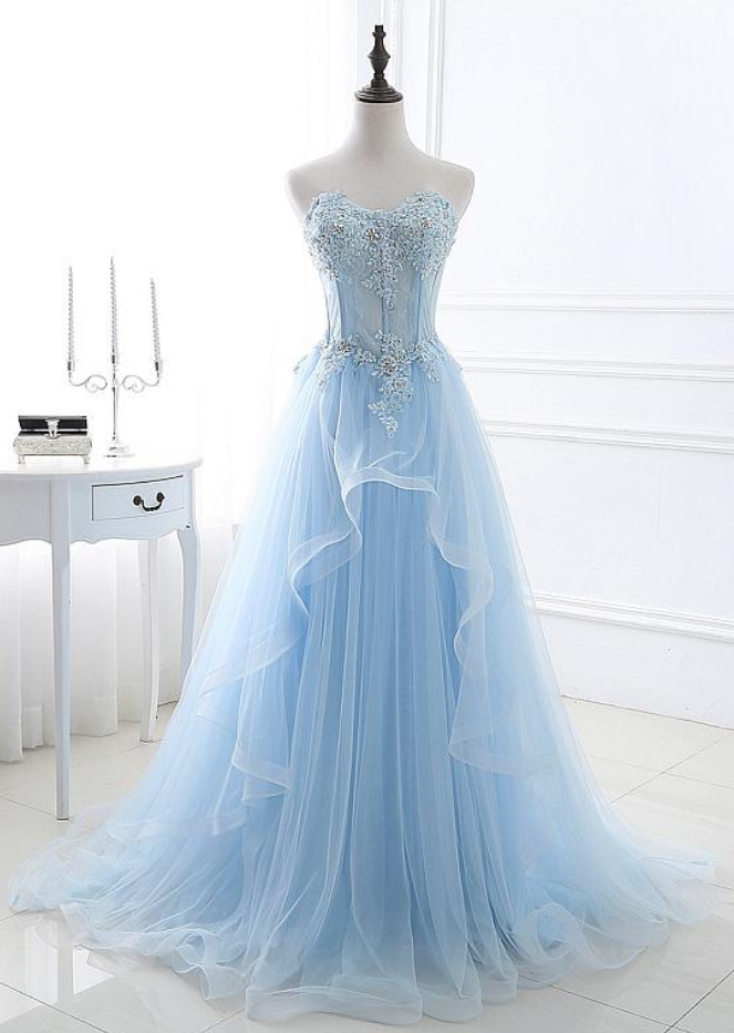 Tulle Sweetheart Neckline A-line Prom Dresses With Lace Appliques & Beadings,Custom Prom Dresses ,Evening dresses, Prom Dresses,Long Prom Dress