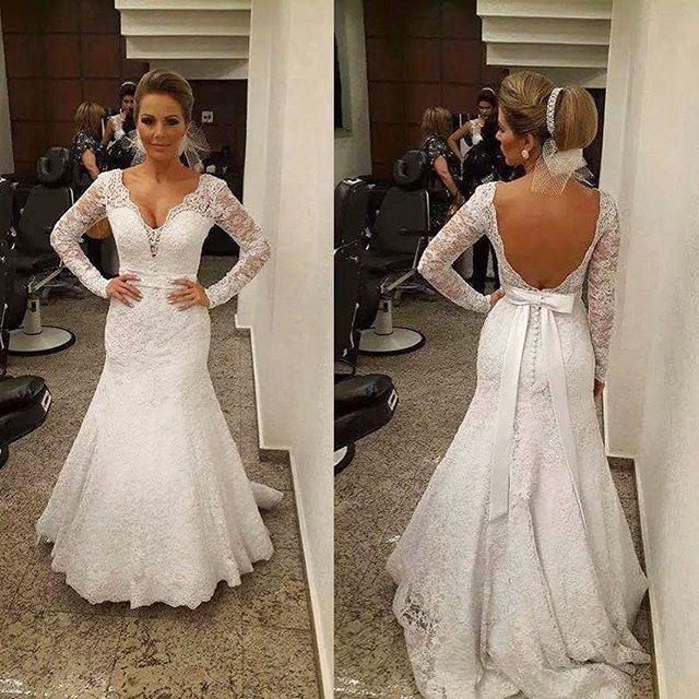 11f4d940f7812 V-neck Wedding Dress
