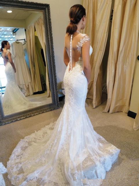 White Wedding Dresses Lace Gowns Mermaid Perspective Halter Dress Sequin Bridal Short Sleeve 2016 Custom Made