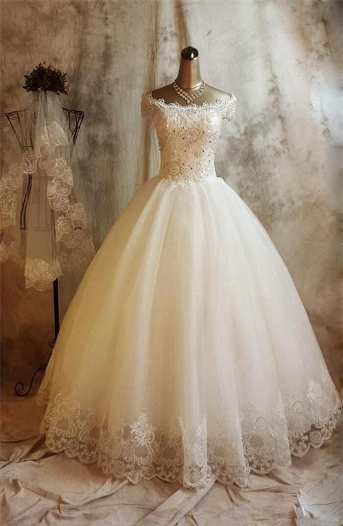 Long Ball Gown Lace Wedding Dresses,Beaded Back Up Lace Wedding ...