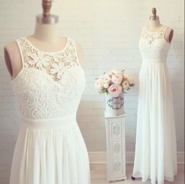 609072b8d77b 2016 White Simple Cheap Lon Lace Wedding Dresses