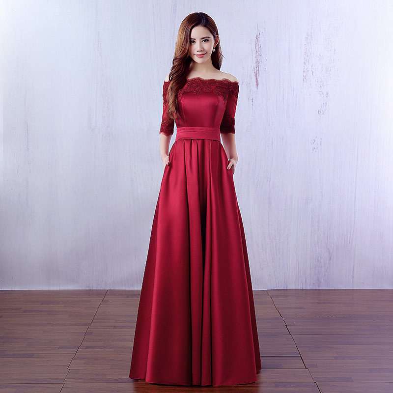 f044117e0775f 1/2 Sleeves Prom Dresses,Red Sexy Formal Dresses ,Long Off-the-shoulder  Formal Dress ,A-line Appliqued Formal Dresses,Gown Waistband Cocktail ...