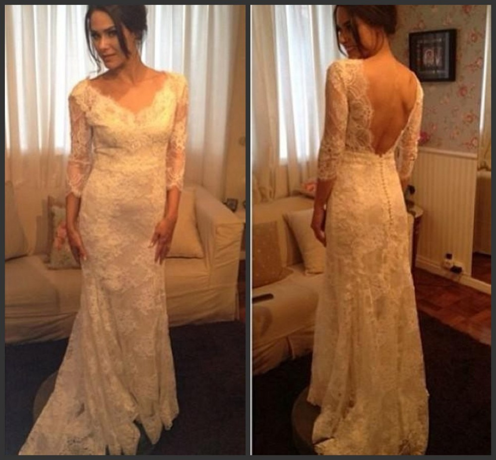 Elegant White Ivory Wedding Dresses,Backless Wedding Gowns,Long ...