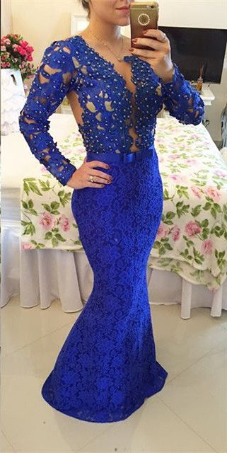 2017 Custom Made Charming Royal Blue Prom Dresslace Beading Evening Dresslong Sleeves Prom Dressesformal Gowns Plus Size Cocktail Dresses Formal