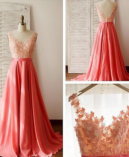 Coral Prom Dresses,Evening Dresses,New Fashion Prom Gowns,Elegant Prom Dress,Lace Prom Dresses,Chiffon Evening Gowns,Simple Formal Dress For Teen,cheap Sexy Backless Prom Dresses,Beading Evening Dress, Prom Dress, formal dresses,Wedding guests dresses