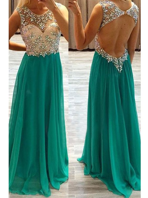 Custom Charming Green Chiffon Prom Dress,Sleeveless Beading Evening Dress,Sexy Backless Prom Dresses,cheap Sexy Backless Prom Dress,Beading Evening Dress, Prom Dress, formal dresses,Wedding guests dresses